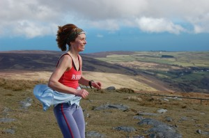Julie Cretney  at Snaefell summit